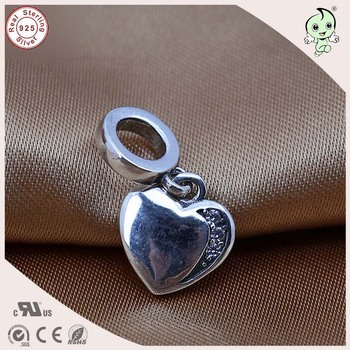 Top Quality Simple Flat Heart Design 925 Solid Silver Double Heart Charm Pendant Fitting European Famous Snake Chain
