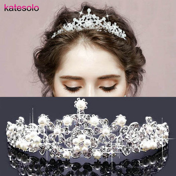 Pearl Wedding Bridal Hair Accessories Bride Princess Crown Tiara Hair Jewelry Tiaras And Crowns Headpiece Silver Color