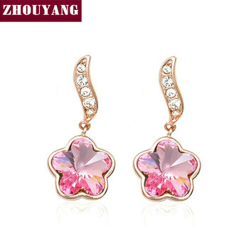 Top Quality Flower Rose Gold Color Stud Earrings Jewelry Made With Austrian Crystal Wholesale ZYE045 ZYE046