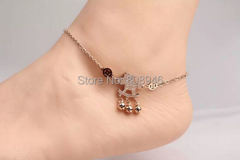Top quality Luck Horse wedding foot adjust chain Titanium Steel 14KRose Gold Women Barefoot Sandals Anklet,S064B