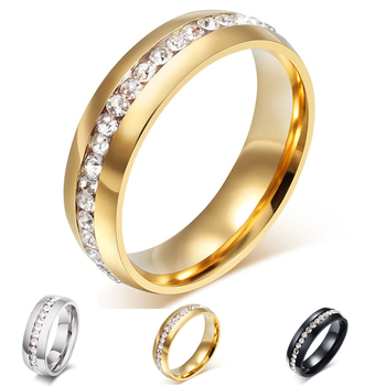 Multicolor gold crystal wedding rings for women stainless steel ring promotion discount wholesale