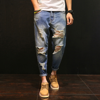 2017 Summer New Cool Slim Straight Ankle-Length Jeans Pants With Big Knee Holes/Dark Blue,Light Blue US Size34 36 38 40 42