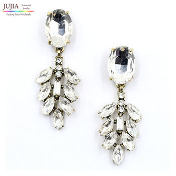New 3 colors 2017 women fashion J design full crystal statement stud Earrings for women jewelry wholesale