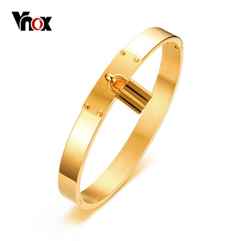 Vnox Temperament Lock Charm Bracelet for Women Cuff Bangle Gold Color Stainless Steel Female Jewelry Elegant Wedding Jewelry