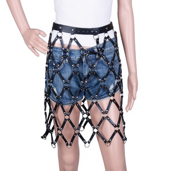 Women's high street chic all-match adjustable sexy style genuine leather weaved chained skirt shaped fashion body harness black