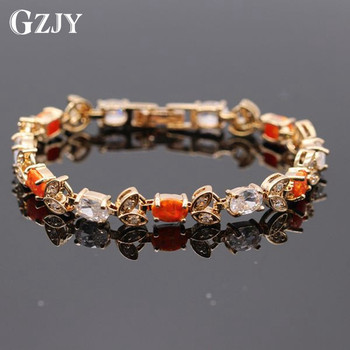 GZJY New Beautiful Fire Opal AAA Cubic Zirconia Gold Color Bracelet For Women Wedding Jewelry 3colors