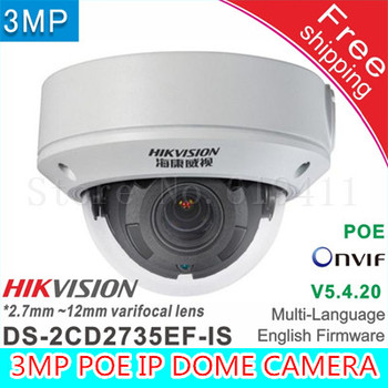 Ücretsiz sihpping Hikvision DS-2CD2735EF-IS DS-2CD2735F-IS Yerine 2.7-12mm değişken odak Lens H.265 3mp PoE IP Kamera CCTV Kamera