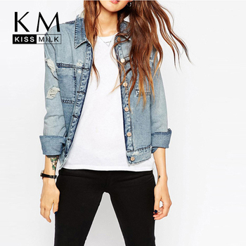 Kissmilk 2017 Women Plus Size Big Large Size New Fashion Single Button 3XL 4XL 5XL 6XL Long Sleeve Slim Denim Coat