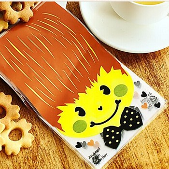 100pcs Lovely Boy Style Flat Plastic Bags for Snack Biscuit Toast Cookie and Pastry Baking Package Gift Bags No Ribbon B110
