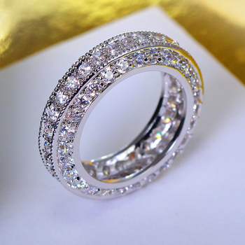 New Fashion Engagemen Ring for Women White & gold color Statement Ring Made With Cubic Zirconia Lovers' Rings Jewelry