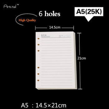 100 Sheets A4 A5 A6 B5 Core Blank Horizontal Kraft Paper Checkered Refills Spiral Notebook Replace Loose Leaf Planner Paper