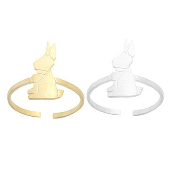 Cute Tiny Animal Origami Rabbit Midi Ring Gold Silver Color Charm Bunny Rings Stainless Steel Friendship Gift Jewelry Anel
